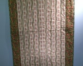 Quilted Table Runner-Green and Pink Paisley Print on Ivory Background