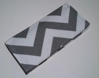 Fabric Checkbook Cover-Gray and White Chevron Zig Zag Stripe with Light Gray Interior
