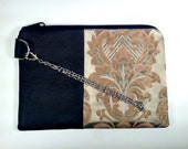 Recycled Leather and Fabric Wristlet, OOAK Pale Peridot and Gold Damask design, Upholstery Remnant, Lined