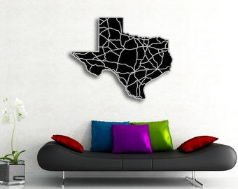 Texas Map Art - 34x34in. Huge Abstract Map, TX Lone Star State Art Engraved Highways Map - Monochromatic Art, Modern Texas Artwork