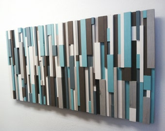 Modern Wood Art - Cottage Chic Wood Strip Artwork 'Cooling Strips' Wooden Wall Art in Turquoise, Brown, Gray, White & Charcoal