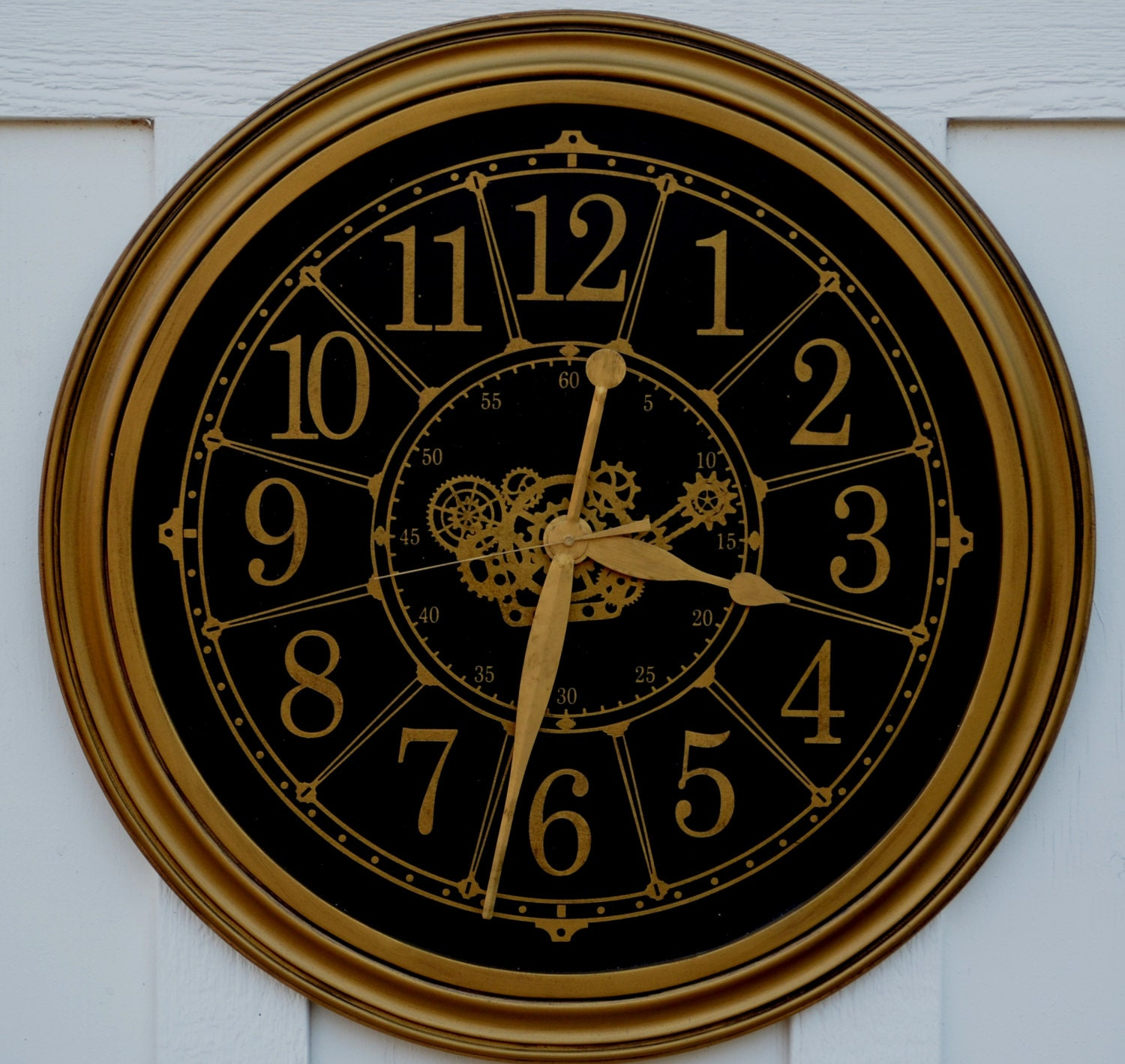 Large industrial gold and black wall clock by wallclockdesigns for Large gold wall clocks