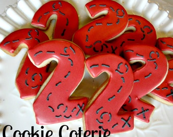 Treasure Map Number Cookies Decorated Cookie Favors One Dozen