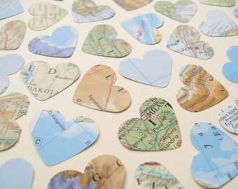 1 Inch World Map Atlas Confetti Hearts - Choose from 250 and 500 - Wedding Travel Vintage Decor
