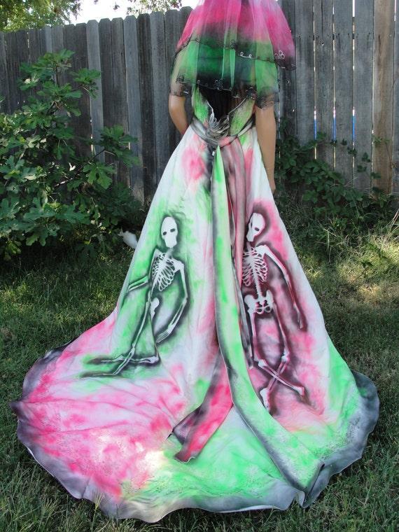 Large Xl Size 18 W Hand Painted Skeleton Wedding Dress Dia