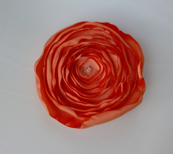 Coral Flower Hair Clip and Brooch Combo Handmade Fabric Flower Size Large