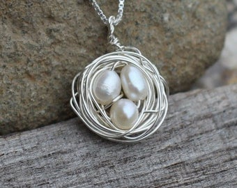 Sterling Silver Birds Nest Necklace