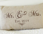 Mr. and Mrs. Pillow Cover, 12x20 lumbar, choice of chocolate brown,  black, vintage white or custom color, Established date
