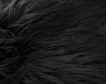 Half Yard Black Mongolian Shag