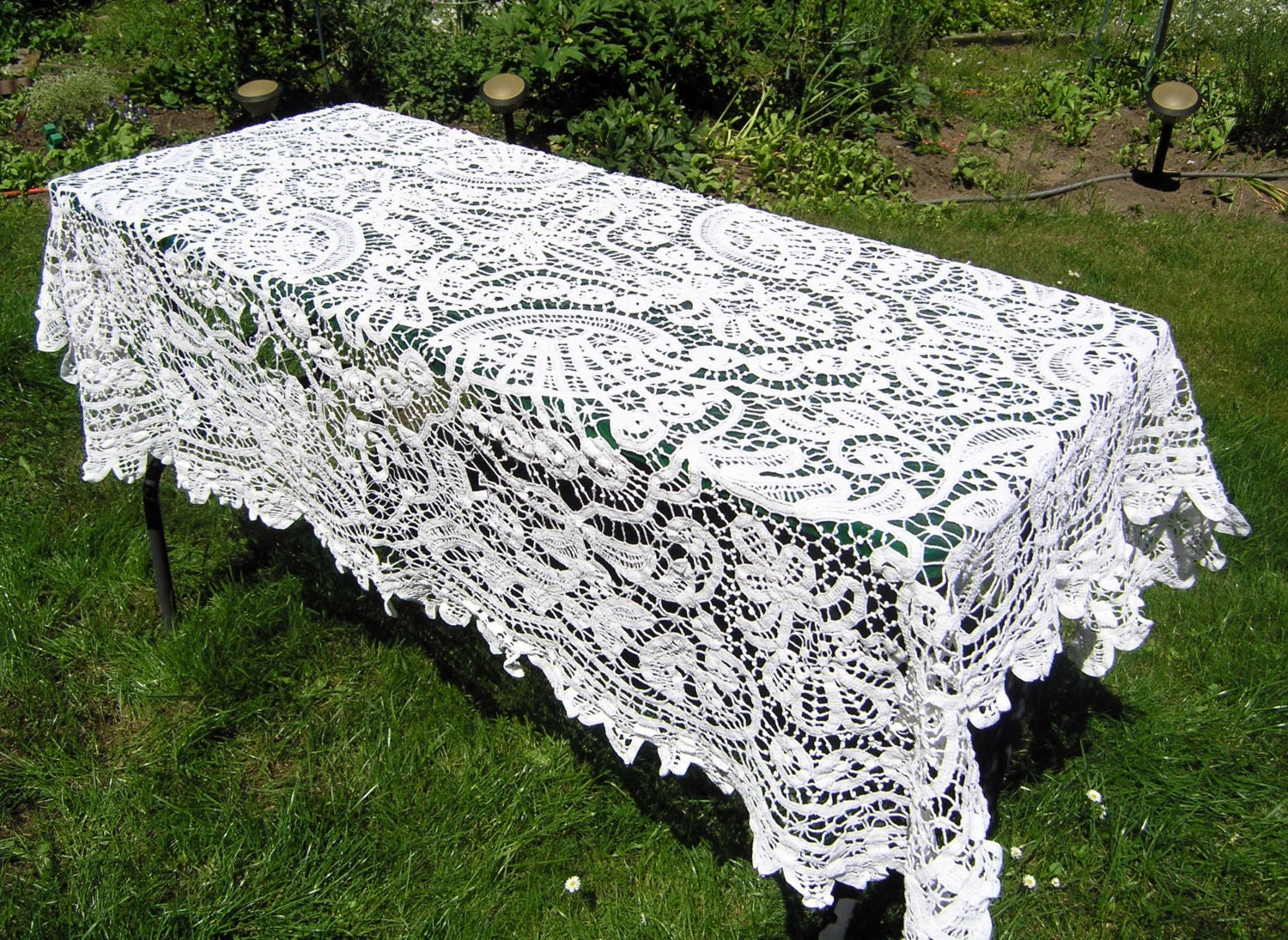 Vintage White Lace Crochet Tablecloth Vintage Rectangular