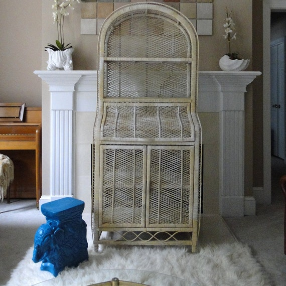 Vintage Cabinet Shelf Buri Wicker Rattan Natural Woven Peacock