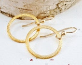 Gold Hoop Earrings / Brushed Textured Hoops / SimplyJoli / Simplistic Minimalist Dangle Earrings