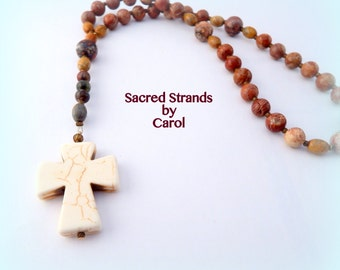 Anglican Prayer Beads - Howlite stone cross and crazy lace agate blue dyed beads