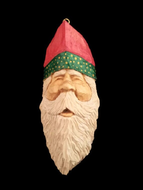 Hand carved wooden santa christmas decoration