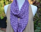 Infinity scarf, loop, tube, circle, purple print infinity, summer scarf, fall scarf