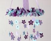 Daisy Nursery Mobile in Plum & Aqua - Baby Girl Nursery Decor, Baby Shower Gift