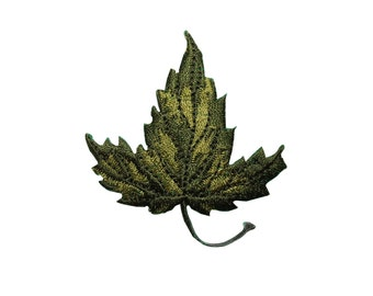ID #7197 Green Maple Leaf Flora Leaves Iron On Embroidered Patch Applique