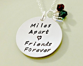 Miles Apart Friends Forever - Personalized Hand Stamped Friendship Jewelry - Sterling Disc, Friendship Quote, Heart and Swarovski Crystals