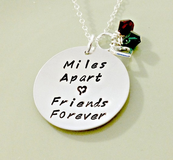 Birthday Quotes For A Friend Miles Away : Miles apart friends forever personalized hand stamped