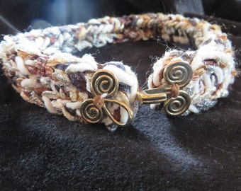 Hand Knit dog collar - hues of coffee caramel and bone - 16 inch - silver, gold, brown, white