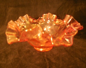 "Fenton ""Dot Optic"" Pink Glass Ruffled Bowl     g298"