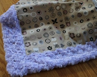 Large Minky Baby Blanket - Modern Birds and Flowers - Light Purple and Tan - Baby Girl - Ready to Ship