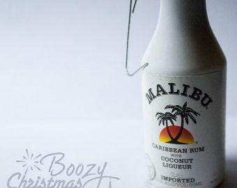 Malibu Rum Ornament-- Malibu Coconut Caribbean Rum Themed Christmas Tree Ornament.