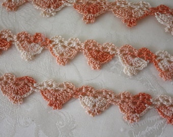 Vintage PASTEL PEACHES and CREAM Pillow Case and Towel Lacy Crocheted Edgings  New never used