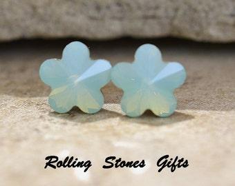 10mm Pacific Opal Swarovski Flower Rhinestone Stud Earrings-Pacific Opal Flower Crystal Studs-Opal Flower Rhinestone Earrings-rostone