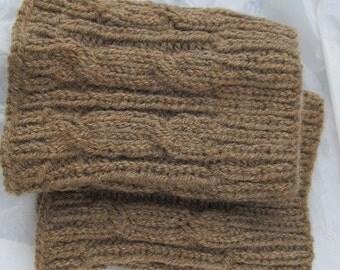 Knit Boot Cuff,Wool, Chunky Leg Warmers Brown - raincity boot