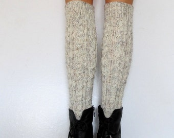 Knit Boot Cuff, Wool, Chunky Legwarmers Oatmeal Color,Long Leg Warmers,  wellies boot cuff - raincity boot, gift-different colors(6)