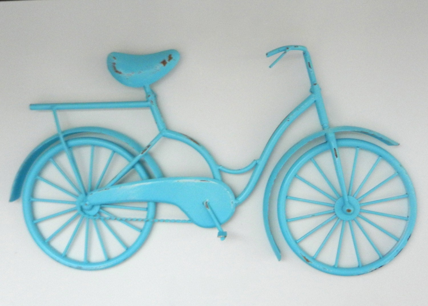 Metal Wall Decor Bicycle : Aqua bicycle wall decor dorm outdoor by juxtapositionsc