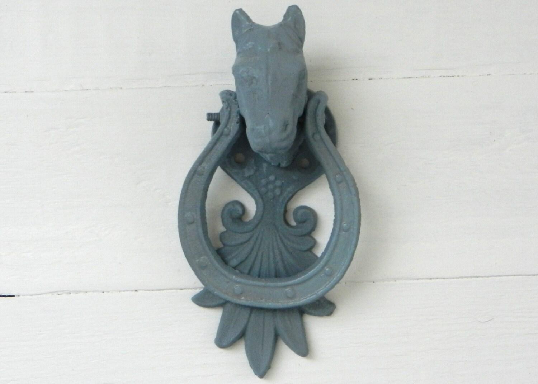 Horse Door Knocker Blue Home Decor Metal Door Knocker
