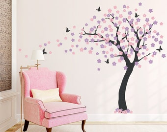 Large Cherry Blossom Tree Wall Decal - Tree Wall Sticker, Nature Wall Decal, Living Room Art, Nursery Tree Wall Decal, Cherry Blossom Decal