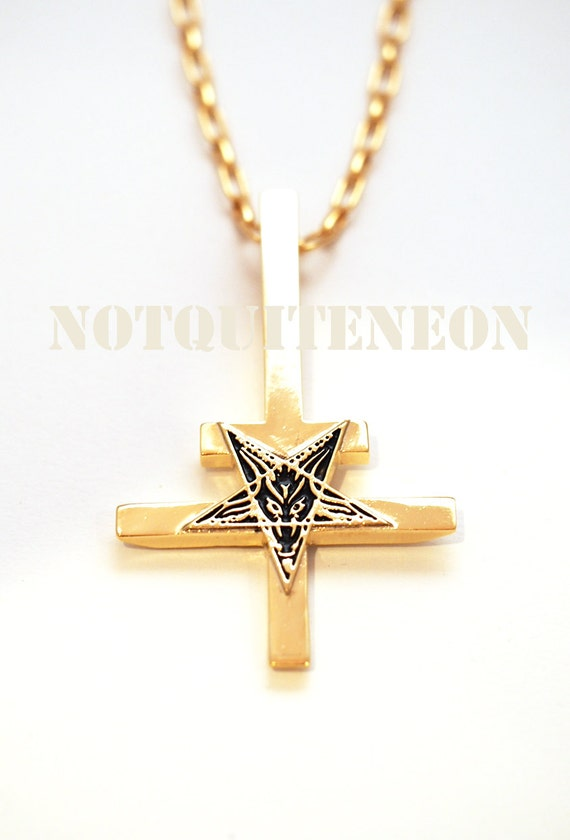 gold plated inverted cross necklace with gold by notquiteneon