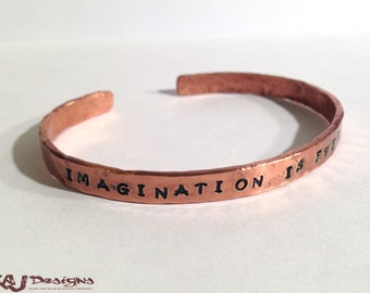 Personalized Copper Cuff Bracelet - Heavy Gauge - Rustic - Hammer Wrought - Custom Sized