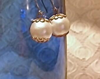 Faux Vintage Pearl Earrings