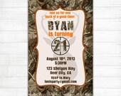 Camo Birthday Invitations - Buck Hunting 21st 18th 16th Invites Surprise 50th 60th 40th 30th Dirty Thirty Orange Green Blue - Printable