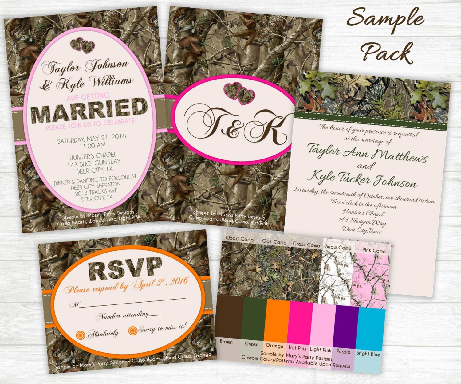 Camouflage Wedding Invitations: Camo Wedding Invitation Samples Invites By MarysPartyDesigns