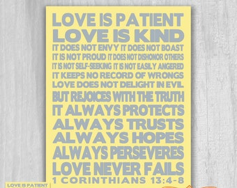 1 Corinthians 13 4 8 Love is Patient BOLD 12x12 or Poster Print DIGITAL DOWNLOAD Printable Yellow Gray