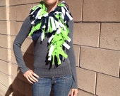 Seattle Seahawks Fleece Boa Scarf in Green Navy Blue and White or Silver