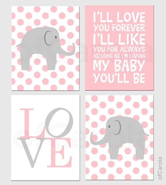 Nursery Art For Children Kids Wall Art Baby Girl Nursery Baby: Items Similar To Baby Girl Nursery Elephant PERSONALIZED