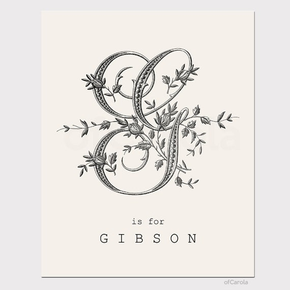 Items similar to kids wall art print monogram initial letter g home room decor personalized old - Initial letter wall decor ...