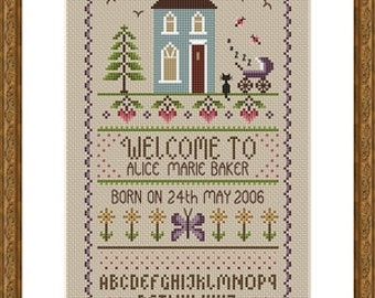 INSTANT DOWNLOAD New Baby Cross Stitch Sampler PDF Chart