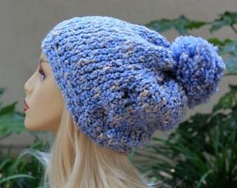 Hand Knit, Light, Sky Blue, Cream Flecks, Acrylic/Polyester/Cotton, Slouchy, Beanie Hat with Two Inch Headband Large Pom Pom Man Woman