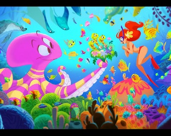 """Octopus's Garden - 13x19"""" Print"""