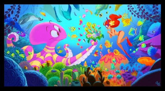 Octopus 39 S Garden 13x19 Print