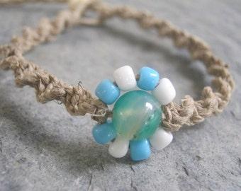 Flower Macrame Bracelet, Blue and White Blossom, Adjustable Hemp Jewelry
