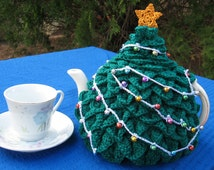 English terms PDF pattern for a Xma s tree tea cosy in crochet..