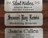 "Engraved Silver Nickel Plate Picture Frame Art Label Name Tag 3"" x 1"" with Adhesive on Back"